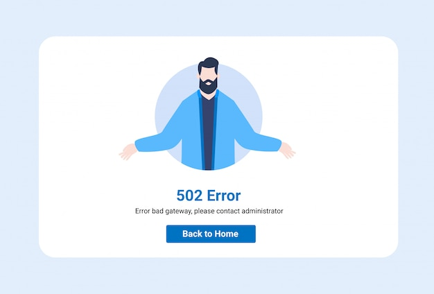 Interface Utilisateur D'illustration De Modèle De Conception Pour Une Page Web Avec Une Erreur 502. Vecteur Premium