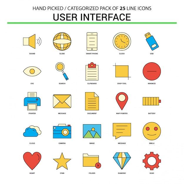 Interface utilisateur ligne plate icon set Vecteur Premium