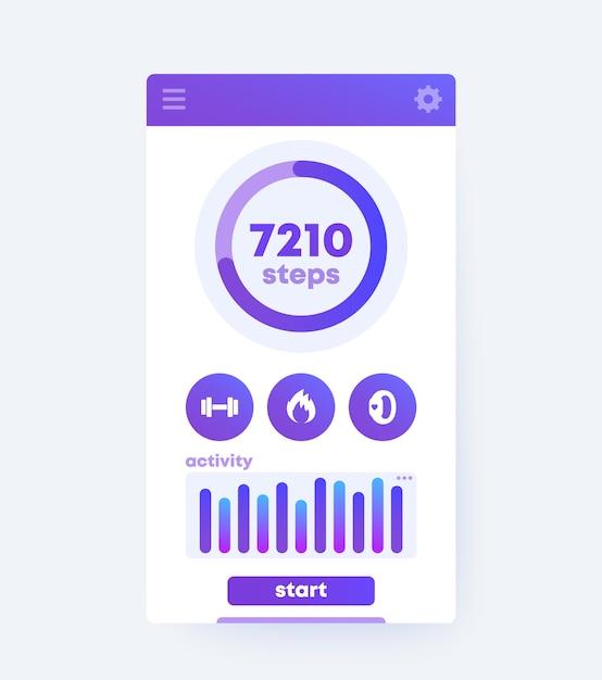 Interface Utilisateur Mobile De L'application De Remise En Forme, Vecteur Premium