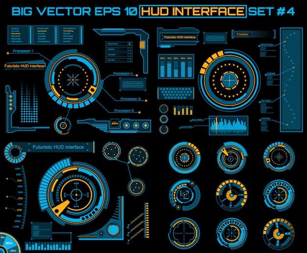 Interface utilisateur tactile virtuelle futuriste hud. Vecteur Premium