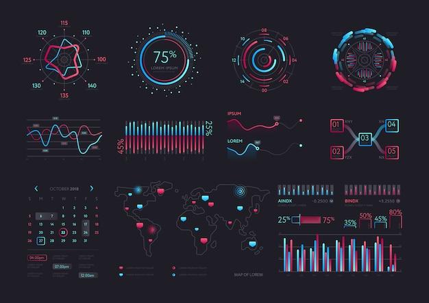 Interface vectorielle hud de technologie intelligente Vecteur Premium