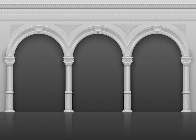 Intérieur antique antique romain avec des arches et des colonnes en pierre vector illustration Vecteur Premium