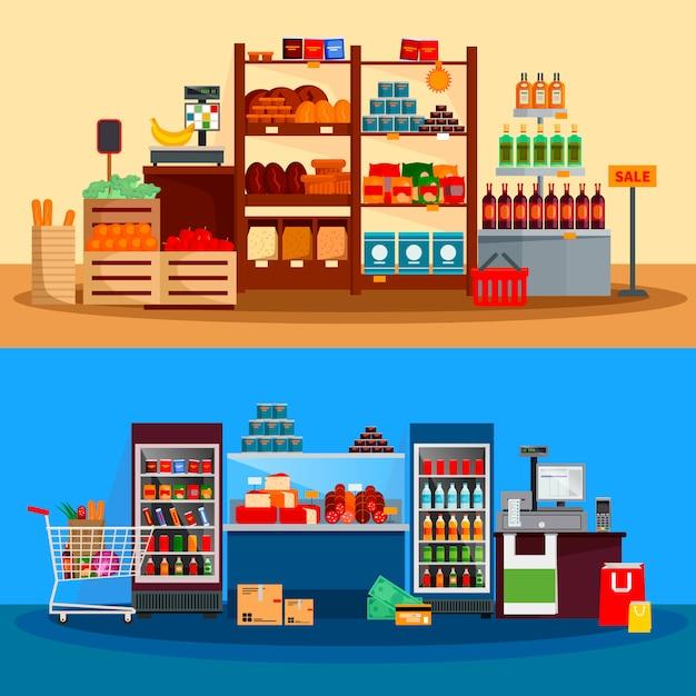 Intérieur des bannières de supermarchés Vecteur gratuit
