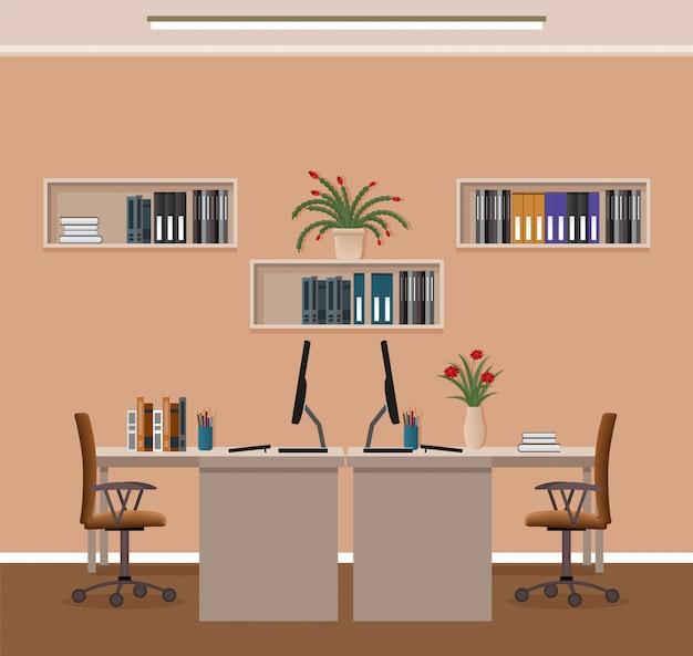 Intérieur De Bureau Avec Deux Espaces De Travail Et Mobilier. Organisation Du Lieu De Travail Dans Le Bureau D'affaires. Vecteur Premium