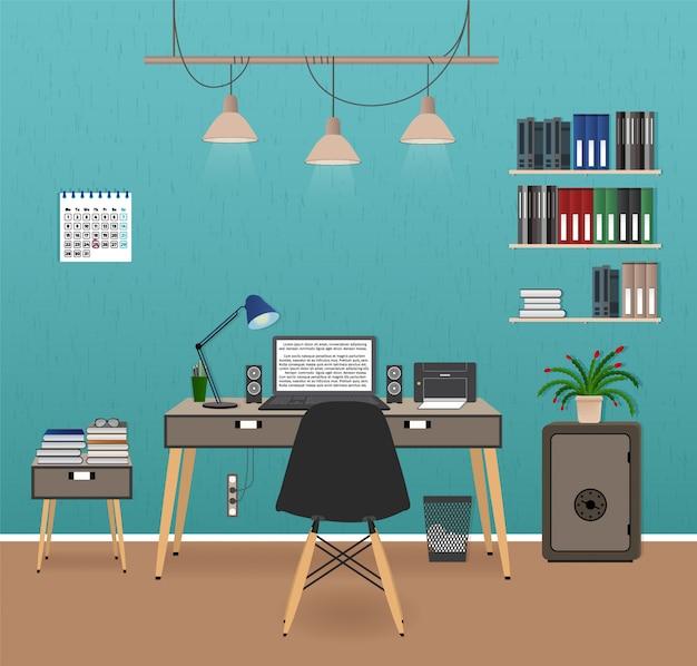 Intérieur De Bureau Avec Espace De Travail. Organisation Du Lieu De Travail Dans Le Bureau D'affaires. Conception D'armoires De Travail Avec Des Meubles. Vecteur Premium