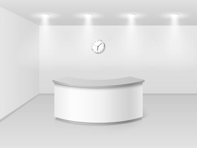 Intérieur de bureau ou hôtel avec illustration vectorielle 3d de comptoir de réception Vecteur Premium