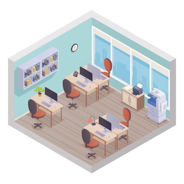 Intérieur de bureau isométrique composé de postes de travail avec personnel, ordinateur de bureau et imprimante Vecteur gratuit