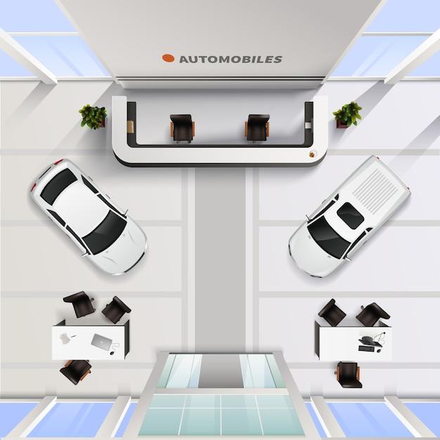 Intérieur de bureau vue de dessus isométrique du salon de l'automobile avec des voitures et des tables pour les employés et le client Vecteur gratuit
