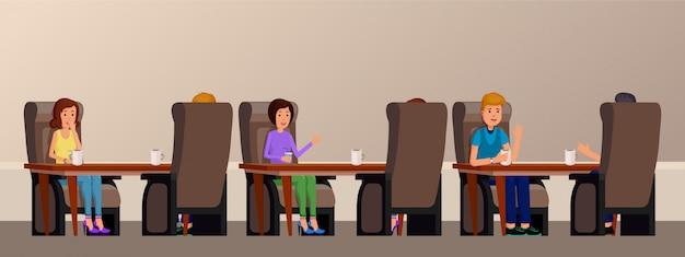 Intérieur de café avec des gens appréciant le temps. amis sont assis à une table en illustration vectorielle plat café Vecteur Premium