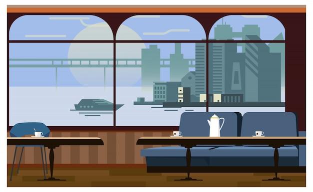Intérieur de café avec illustration de tables et canapé Vecteur gratuit