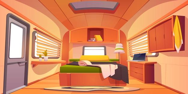 Intérieur De La Caravane Du Camping-car Avec Lit Défait, Vecteur gratuit