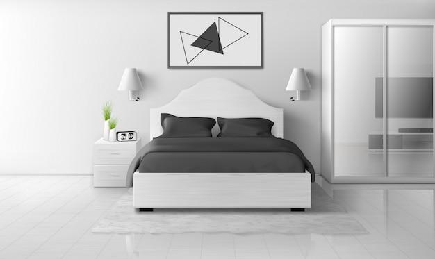 Intérieur De Chambre Aux Couleurs Monochromes, Maison Moderne Vecteur gratuit