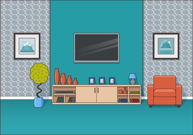Intérieur De La Chambre En Ligne Art Plat. Illustration. Vecteur Premium