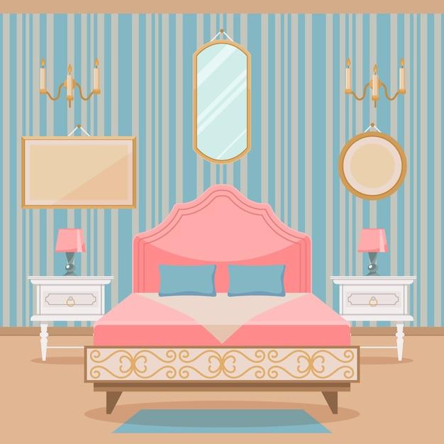 Intérieur de la chambre avec des meubles de style classique. Vecteur Premium