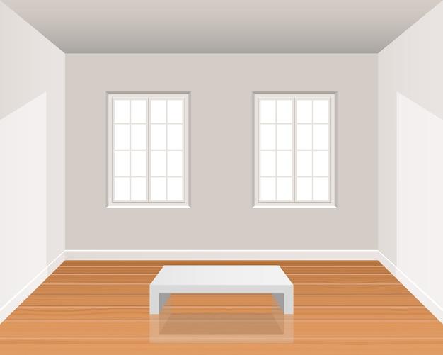 Intérieur De Chambre Réaliste Avec Illustration De Plancher En Bois Vecteur Premium