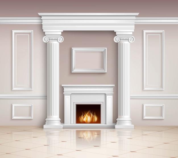 Intérieur classique avec cheminée Vecteur gratuit