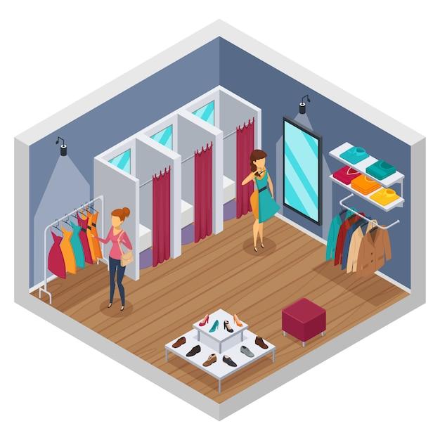 Intérieur coloré isométrique de magasin d'essai avec des murs et magasin avec des cabines d'essayage Vecteur gratuit