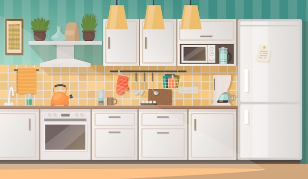 Intérieur d'une cuisine confortable avec des meubles et des appareils. illustration vectorielle Vecteur Premium