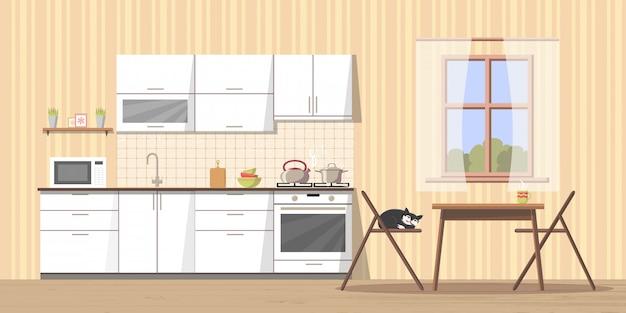 Intérieur de cuisine confortable Vecteur Premium