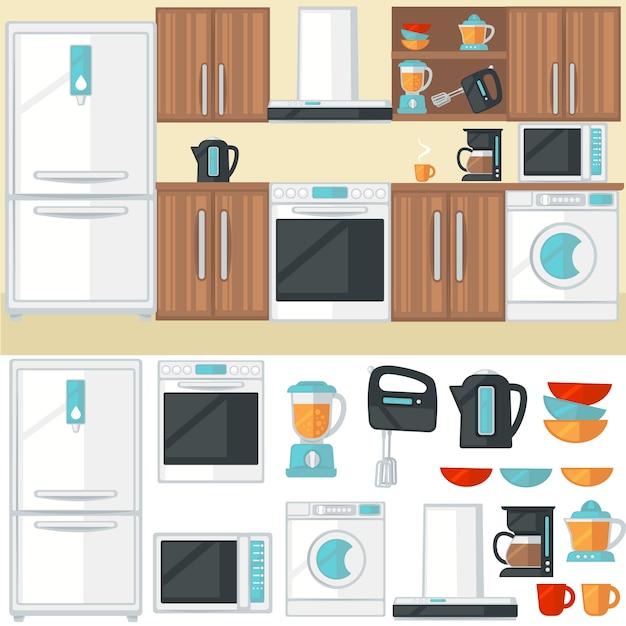 Intérieur de la cuisine avec meubles de cuisine, appareils électroménagers, électr Vecteur Premium