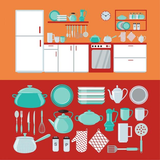 Intérieur de cuisine avec meubles et vaisselle et couverts Vecteur Premium