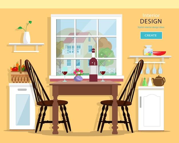 Intérieur De Cuisine Moderne Mignon Avec Des Meubles: Table, Chaises, Placards. Illustration. Vecteur Premium