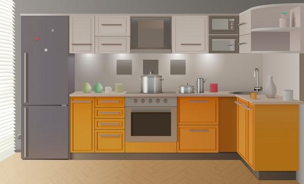 Intérieur de cuisine moderne orange Vecteur gratuit