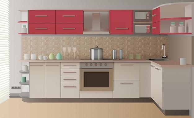 Intérieur de cuisine réaliste Vecteur gratuit