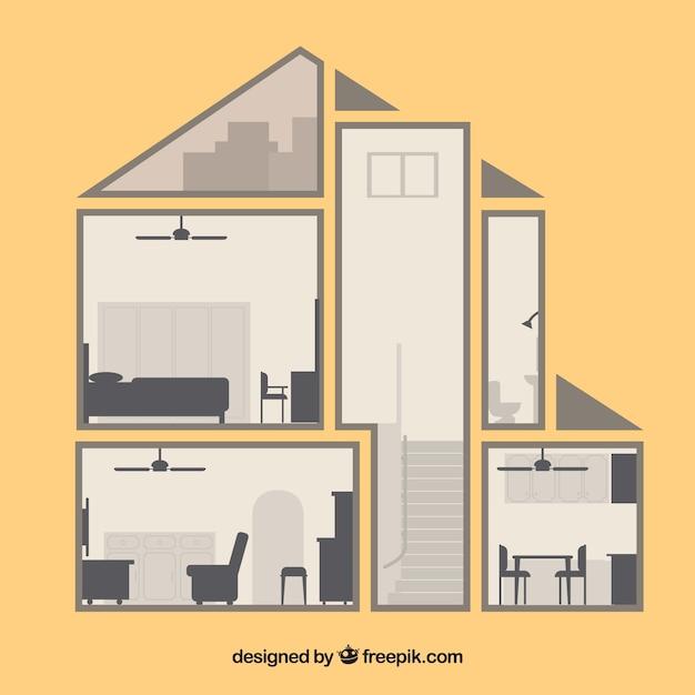 Int rieur de la maison ancienne design plat for Programme de design interieur gratuit