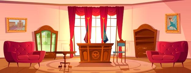Intérieur Du Cabinet Ovale, Président Du Lieu De Travail Américain Vecteur gratuit