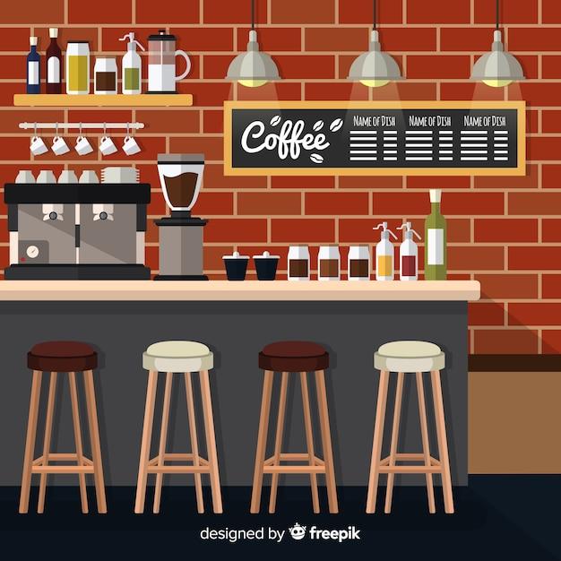 Intérieur du café moderne avec un design plat Vecteur gratuit