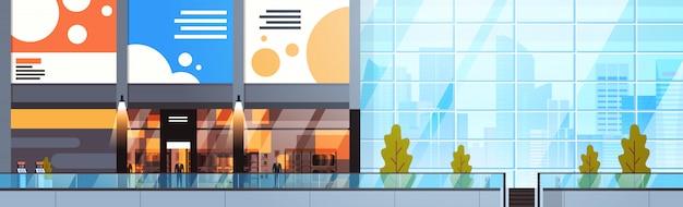 Intérieur du centre commercial moderne vide Vecteur Premium