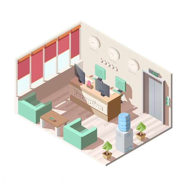 Intérieur Du Hall De Réception De L'hôtel Isométrique, Bureau Vecteur gratuit