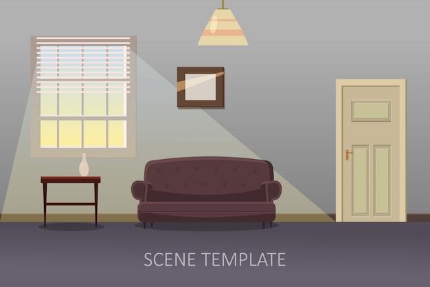 Intérieur Du Salon Avec Mobilier. Illustration Vectorielle En Style Cartoon Vecteur Premium