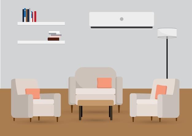 Intérieur Du Salon Avec Mobilier Vecteur Premium
