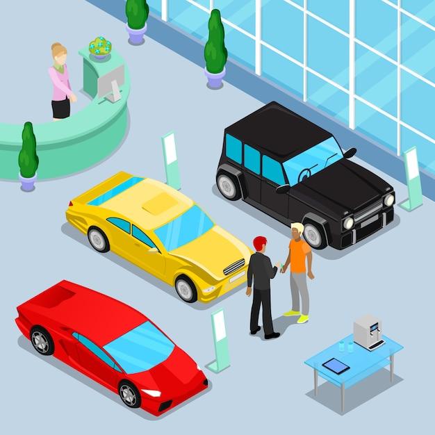 Intérieur du showroom des ventes de voitures avec voitures tout terrain et voitures de sport. client achetant une nouvelle voiture. Vecteur Premium