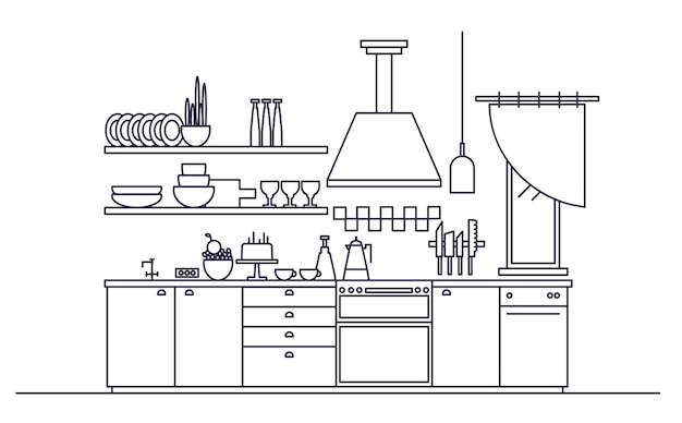 Intérieur élégant De Cuisine Moderne Meublée Avec Des Appareils électroménagers, Des Ustensiles De Cuisine Et Des Ustensiles De Cuisine Vecteur Premium