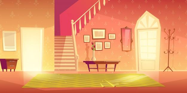 Intérieur d'entrée de couloir de maison avec des meubles. Vecteur gratuit
