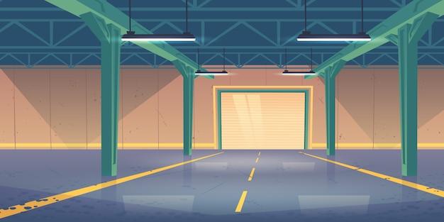 Intérieur De L'entrepôt Vide Avec Portes Roulantes Brisées Vecteur gratuit