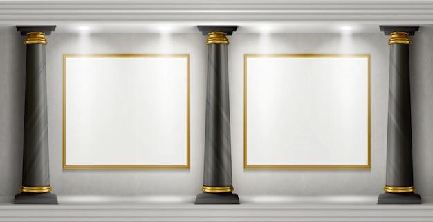 Intérieur De La Galerie Avec Colonnes Et Peintures Vierges Vecteur gratuit