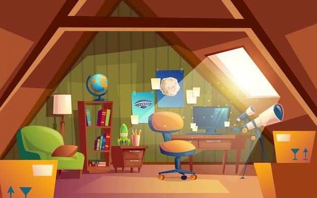 Intérieur grenier, salle de jeux pour enfants avec des meubles. chambre confortable sous le toit avec télescope Vecteur gratuit