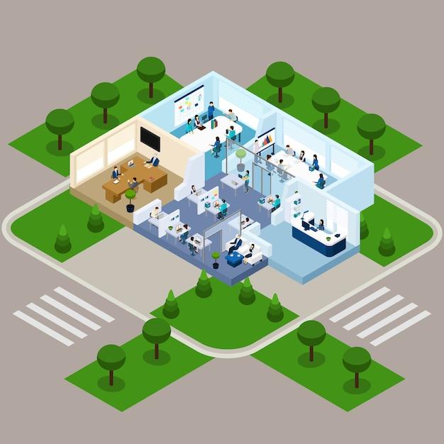 Intérieur isométrique de bureau à un étage Vecteur gratuit