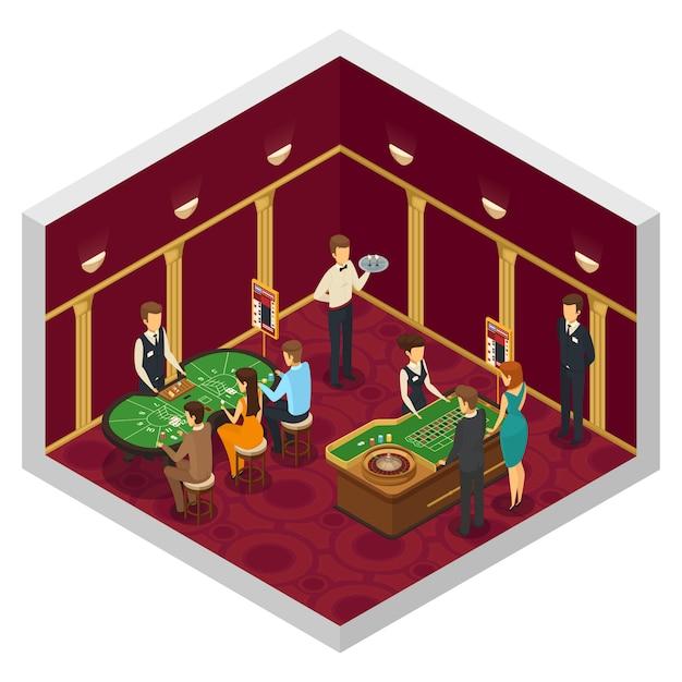 Intérieur isométrique de casino coloré avec le jeu de tables vertes d'employés de casino de dés Vecteur gratuit