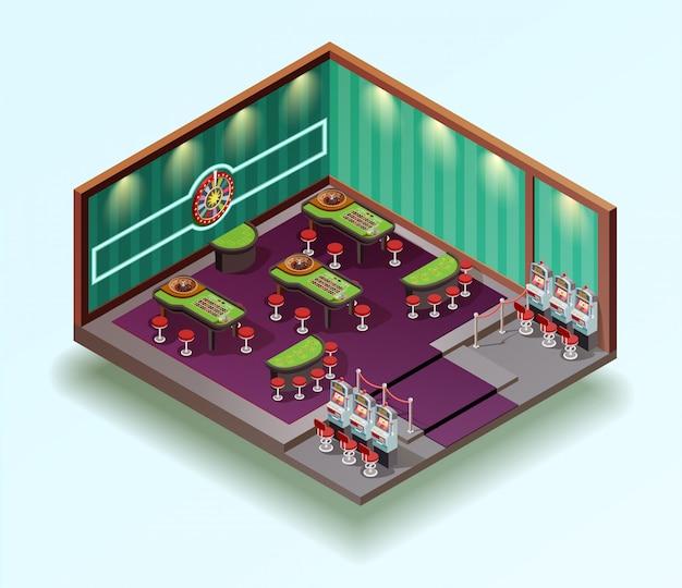 Intérieur isométrique du casino hall Vecteur gratuit