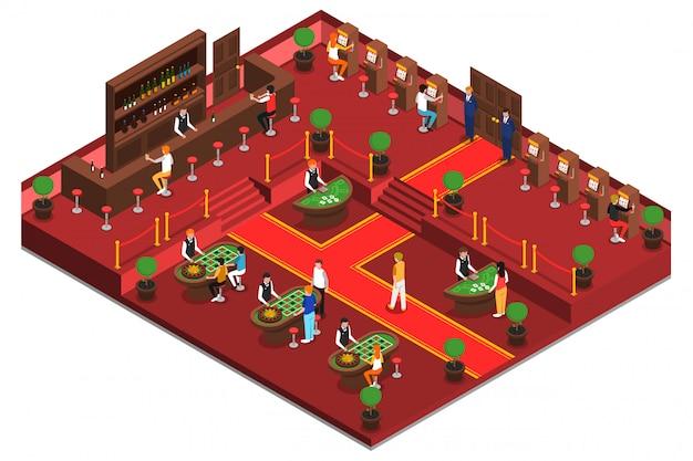 Intérieur isométrique du casino Vecteur gratuit