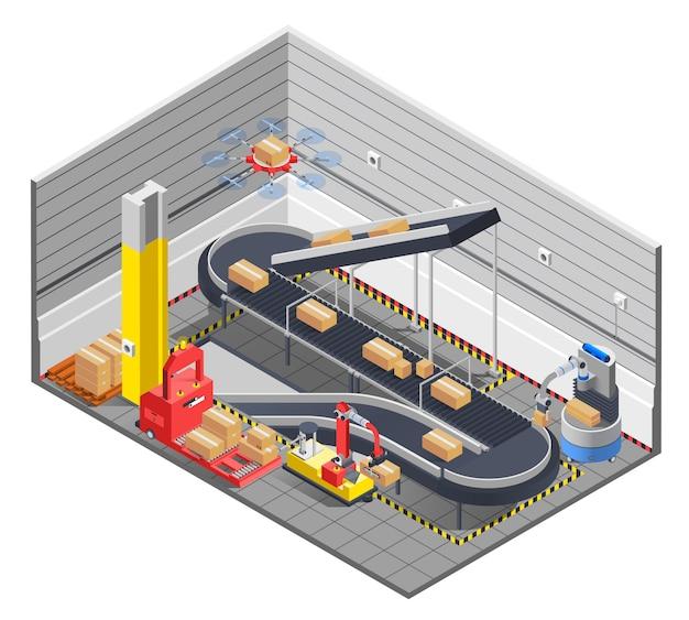 Intérieur Isométrique D'entrepôt Automatique Vecteur gratuit