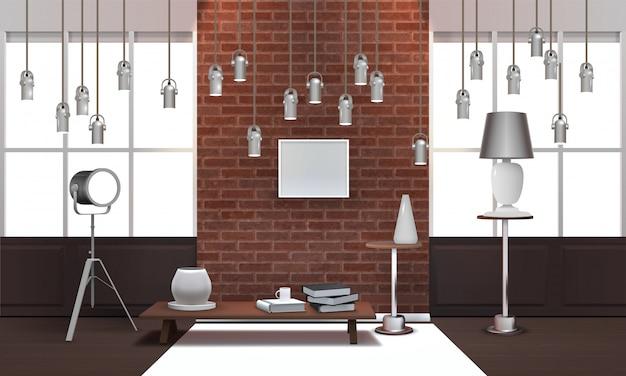 Intérieur de loft réaliste avec lampes suspendues Vecteur gratuit