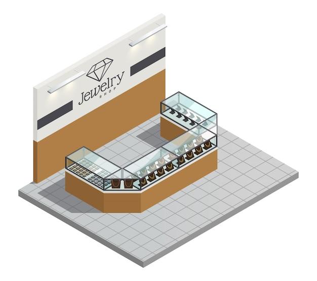 Intérieur de magasin de bijoux vue de dessus avec des bijoux d'or chers femmes en comptoir transparent sans vendeur et visiteurs Vecteur gratuit