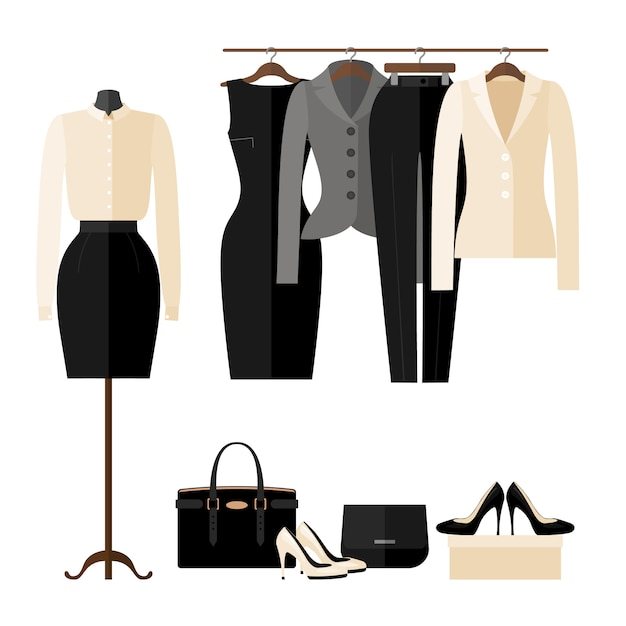 Intérieur de magasin de vêtements pour femmes avec des vêtements de travail dans un style plat isolé sur blanc. Vecteur Premium