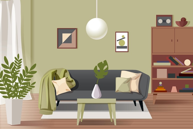 Intérieur De La Maison - Arrière-plan Pour La Vidéoconférence Vecteur Premium